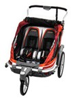 Chariot Chinook Stroller and Jogger - Urban Series - 2 Child - Newborn and Up - Pumpkin/Burg/Orange