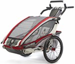Chariot CX Stroller - Sport Series - 2 Child - Burgundy/Gray/Silver - Newborn and Older