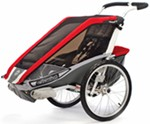 Chariot Cougar Bike Trailer and Stroller - 1 Child - Red/Silver/Gray - 12 Months and Older