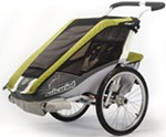 Chariot Cougar Bike Trailer and Stroller - 1 Child - Avocado/Silver/Gray - 12 Months and Older