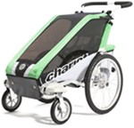 Chariot Cheetah Stroller - Sport Series - 2 Child - Green/Black/Silver - Newborn and Older