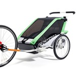 Chariot Cheetah Bike Trailer and Stroller - 2 Child - Green/Black/Silver - 12 Months and Older