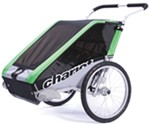 Chariot Cheetah Skiing and Walking Stroller - 2 Child - Green/Black/Silver - 6 Months and Older