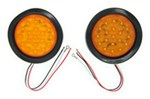 "LED Amber Quad Flash Kit for Trucks and Trailers, 4"" Round"