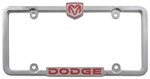 Dodge License Plate Frame - Chrome w/ Red Accents