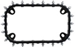 Spikes Motorcycle License Plate Frame - Black and Chrome