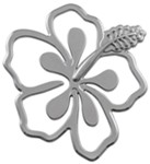 3d-Cal Hibiscus Vehicle Decal - Chrome