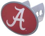 "Alabama Crimson Tide 2"" NCAA Trailer Hitch Receiver Cover - Oval Face - Zinc"