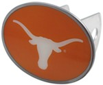 "Texas Longhorns 2"" NCAA Trailer Hitch Receiver Cover - Oval Face - Zinc"