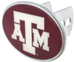 "Texas A&M Aggies 2"" NCAA Trailer Hitch Receiver Cover - Oval Face - Zinc"