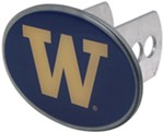 "Washington Huskies 2"" NCAA Trailer Hitch Receiver Cover - Oval Face - Zinc"