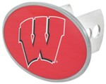 "Wisconsin Badgers 2"" NCAA Trailer Hitch Receiver Cover - Oval Face - Zinc"