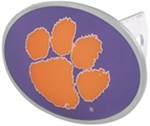 "Clemson Tigers 2"" NCAA Trailer Hitch Receiver Cover - Oval Face - Zinc"