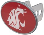 "Washington State Cougars 2"" NCAA Trailer Hitch Receiver Cover - Oval Face - Zinc"