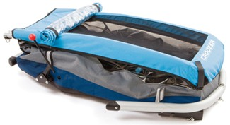Croozer child carrier folded up for storage or transport