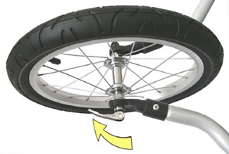 Croozer jogging arms and wheel connected with quick-release skewer in closed position