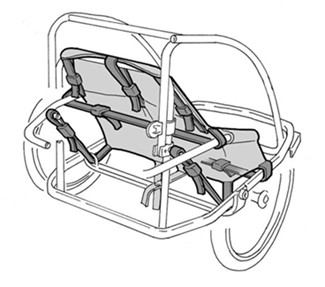 Croozer aluminum frame with seats installed using adjustable web straps