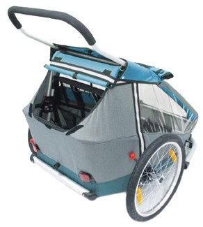 Storage compartment on rear of Croozer stroller