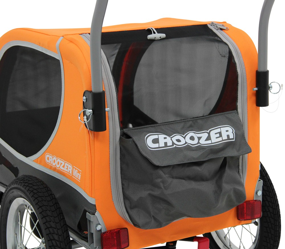 Dog carrier bike trailer and stroller orange and gray dogs up to 45