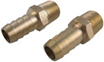 "Derale 3/8"" NPT Male x 1/2"" Barb Straight Hose Fitting - 2 Piece"