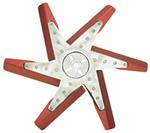 "Derale 17"" High-Performance, Aluminum Flex Fan, Chrome and Red - Belt Driven - 8,000 RPM"