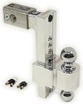 "Self-Locking, Adjustable, Aluminum Ball Mount - 2 Chrome Balls - 10"" Drop, 11"" Rise - 10K"