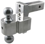 "Solid-Tow Adjustable, Aluminum Ball Mount - 2 Chrome Balls - 4"" Drop, 5"" Rise - 10K"