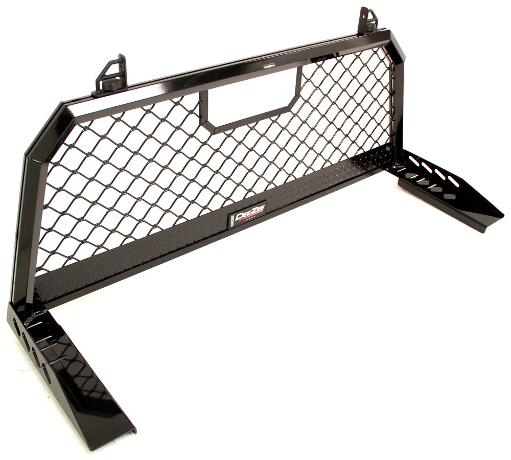 Deezee aluminum headache rack with sliding load stops black powder coat deezee truck bed
