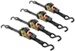 "Erickson Re-Tractable Ratchet Straps w/ Push-Button Release - 1"" x 6' - 1,500 lbs - Qty 4"