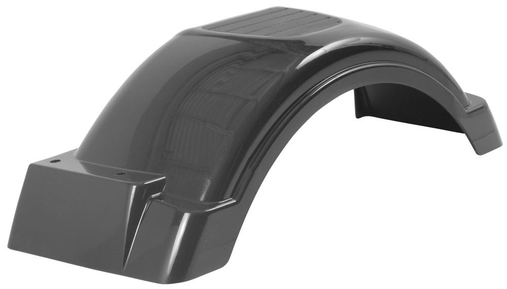 Plastic Fenders For Trailers : Single axle trailer fender w top step style b black