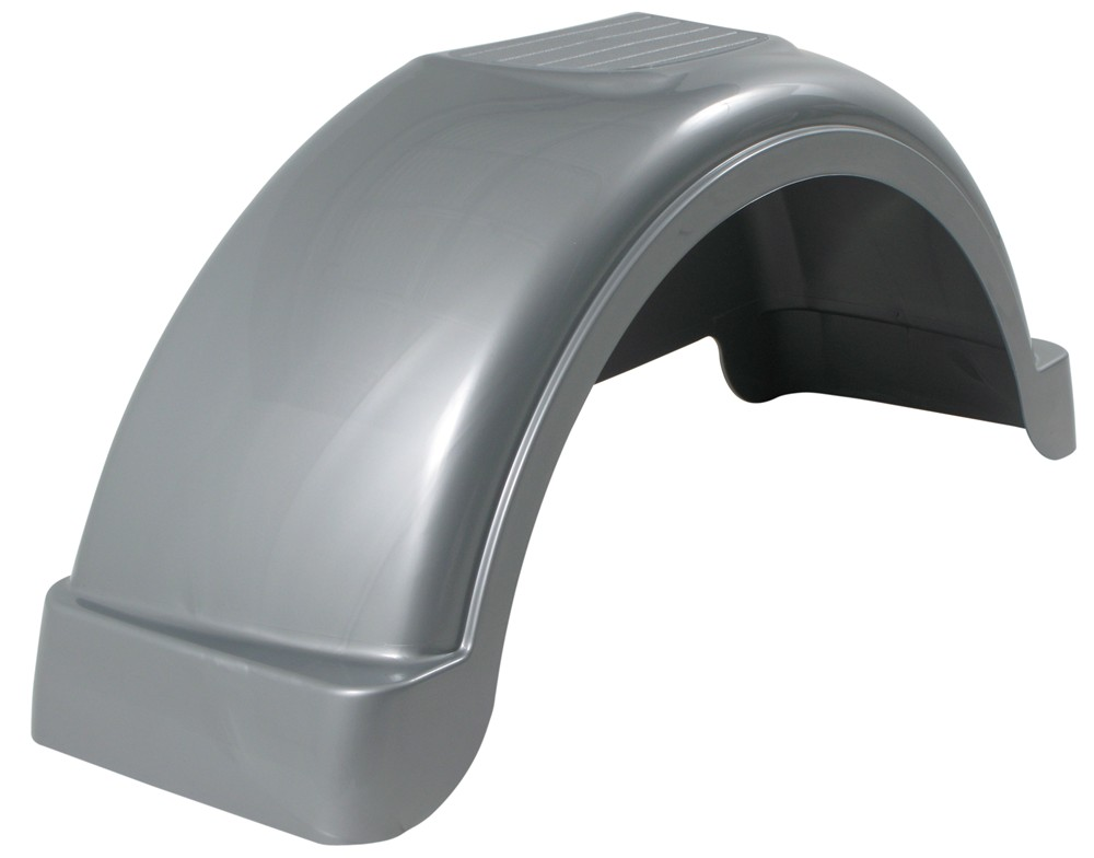 Plastic Fenders For Trailers : Fulton single axle trailer fender with top step silver
