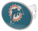 "Miami Dolphins 2"" NFL Trailer Hitch Receiver Cover - Oval Face - Zinc"