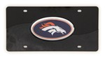 Denver Broncos NFL License Plate - Chrome-Lined Oval Logo - 2-Tone Acrylic