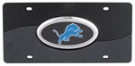 Detroit Lions NFL License Plate - Chrome-Lined, Oval Logo - 2-Tone Acrylic