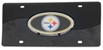 Pittsburgh Steelers NFL License Plate - Chrome-Lined Oval Logo - 2-Tone Acrylic