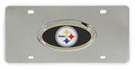 Pittsburgh Steelers NFL License Plate - Chrome-Lined, Oval Logo - Stainless Steel