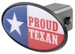 "Proud Texan 2"" Trailer Hitch Receiver Cover - ABS Plastic"