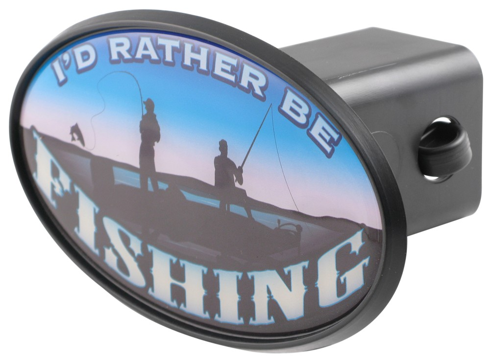 I 39 d rather be fishing 2 trailer hitch receiver cover for Fish hitch cover