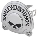 "Harley-Davidson Skull 1-1/4"" Trailer Hitch Receiver Cover - Chrome"