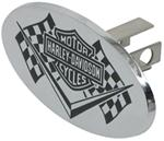 "Harley-Davidson Oval 1-1/4"" Trailer Hitch Cover with Logo on Racing Flags"