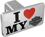 "Harley-Davidson 1-1/4"" Trailer Hitch Receiver Cover - I Heart My Harley - Chrome"