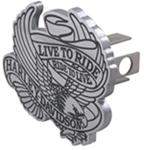 "Harley-Davidson Eagle and Live to Ride Banner 1-1/4"" Trailer Hitch Cover Contour Cut-Out Emblem"