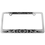 Harley-Davidson License Frame with Gothic Harley-Davidson Top and Logo with Tribal Blades Bottom