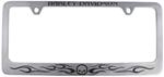 Harley-Davidson Scowling-Skull, Flames and Harley Name License Frame