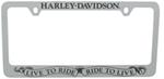 Harley-Davidson License Frame with Harley-Davidson Top and Live to Ride Banner Bottom