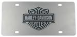 Harley-Davidson License Plate with Black Logo Cut-Out Emblem