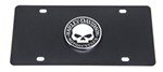 Harley-Davidson License Plate - Chrome Willie G. Skull Emblem - Black Powder Coated Stainless Steel