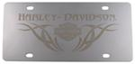 Harley-Davidson License Plate with Monotone Logo Inside Tribal Design Under Gothic Harley-Davidson