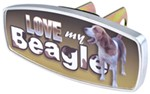 "HitchMate Love My Beagle Trailer Hitch Receiver Cover - 1-1/4"" or 2"" Hitch - Aluminum"