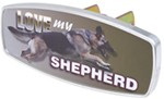 "HitchMate Love My Shepherd Trailer Hitch Receiver Cover - 1-1/4"" or 2"" Hitch - Aluminum"